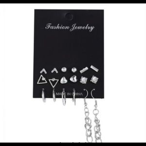 Silver Geometric Earring Set (9 pairs)